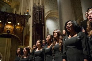 Students from the Nyack College Chorale at the Cathedral of St. John the Divine. (Andres Valenzuela)